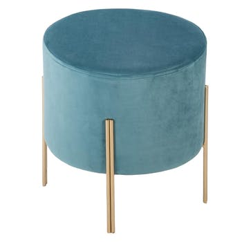Tabouret contemporain velours bleu clair