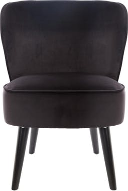 Fauteuil contemporain velours noir