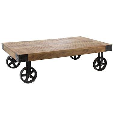 Table basse industrielle manguier à roulettes