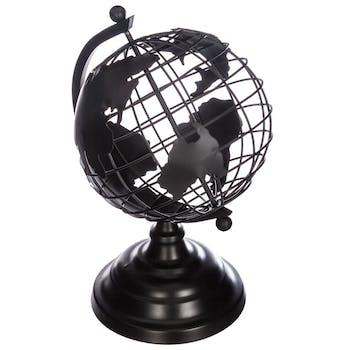 Globe terrestre métal noir 25cm