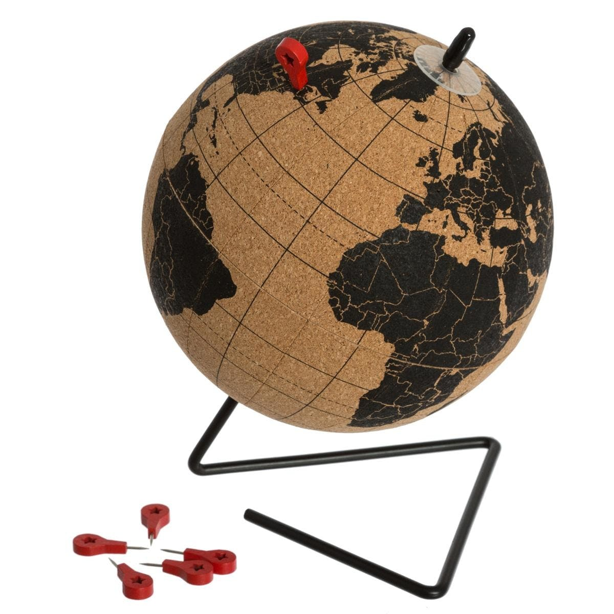 Globe en liège avec punaises