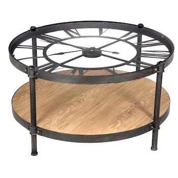 Table basse pendule en métal D90cm