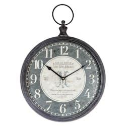 Horloge en métal façon gousset grise D40cm