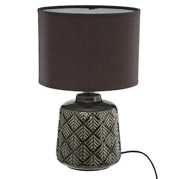 Lampe ethnique en céramique gris foncé H35cm
