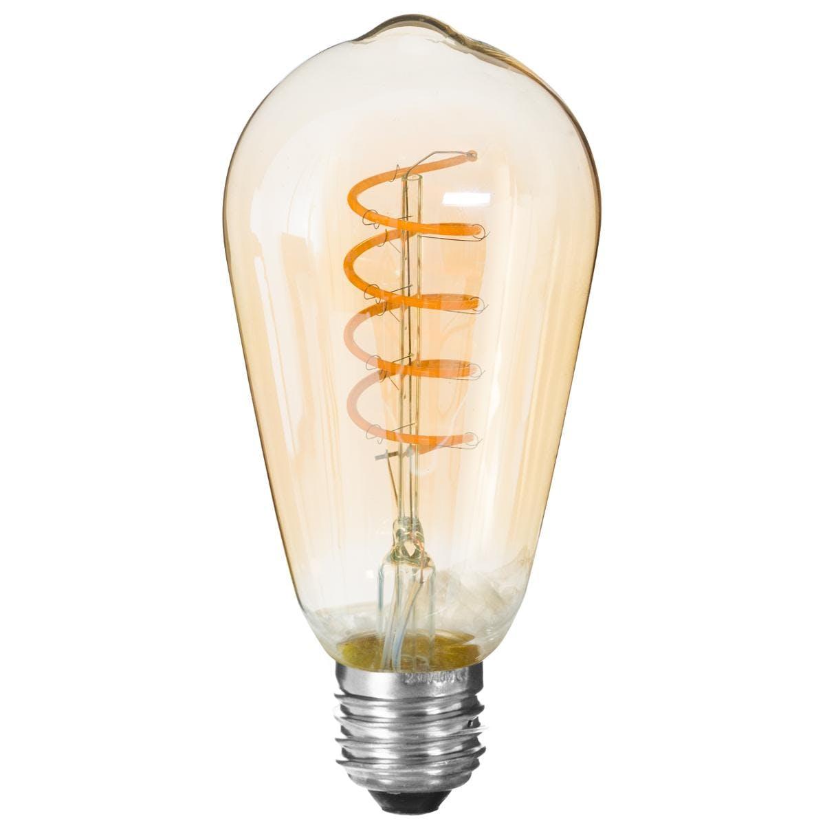 Ampoule LED vintage torsade ambre H14,5cm