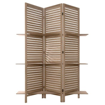 Paravent bois naturel 3 étagères