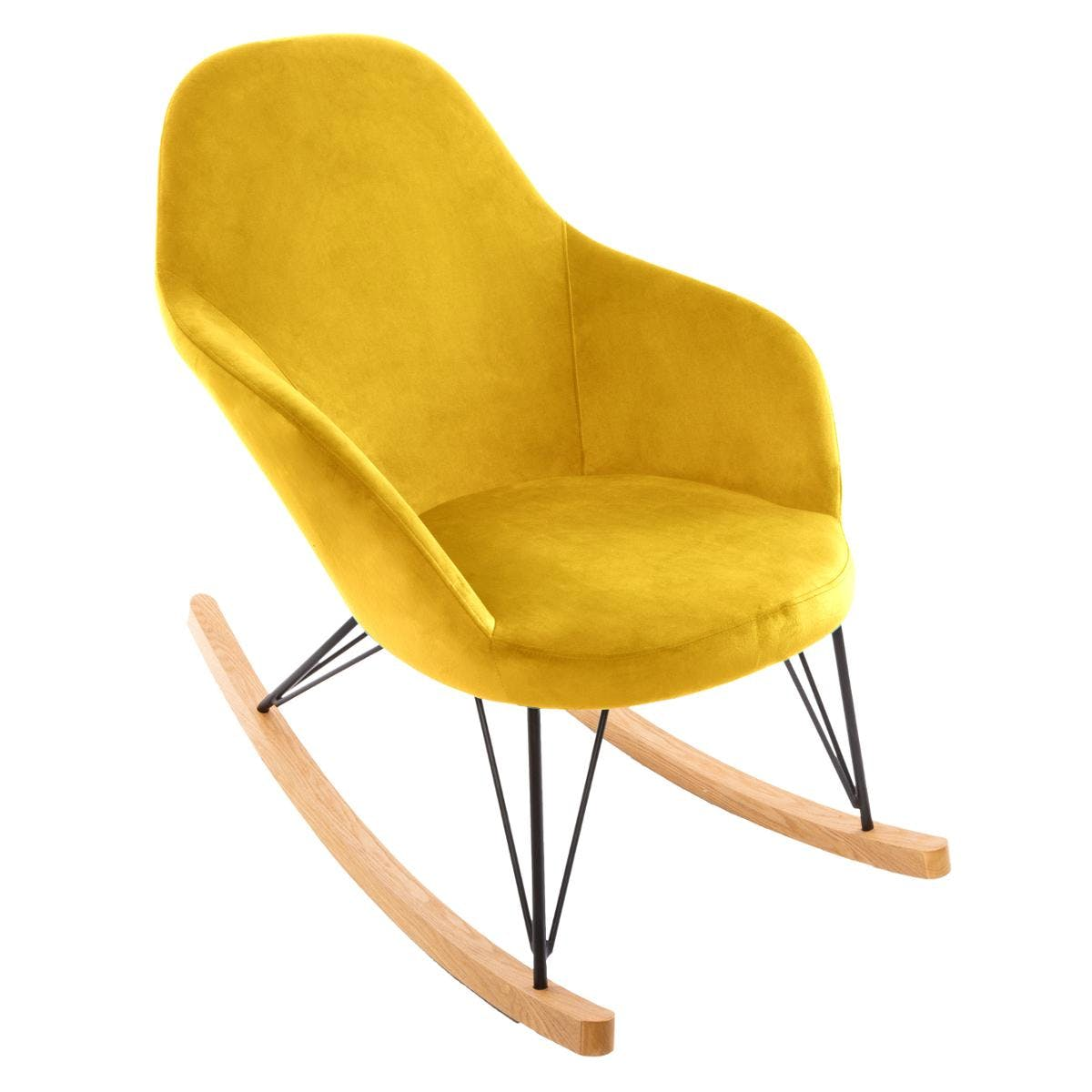 Rocking chair velours moutarde