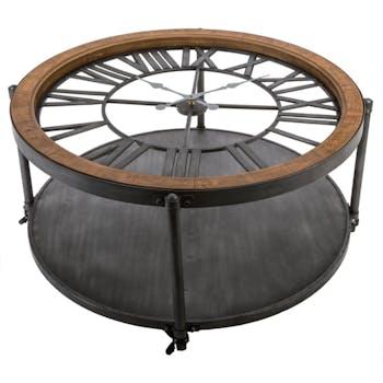 Table basse horloge métal bois D90cm