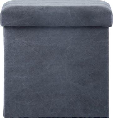Pouf cube coffre pliable gris foncé