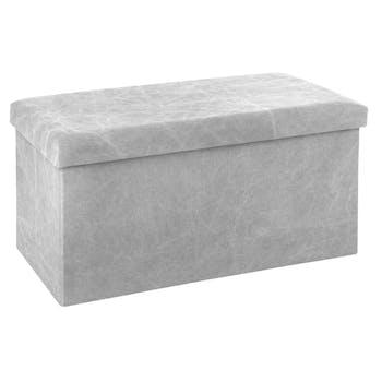 Pouf coffre de rangement pliable gris clair
