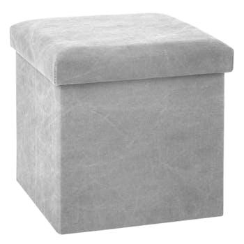 Pouf cube coffre pliable gris clair