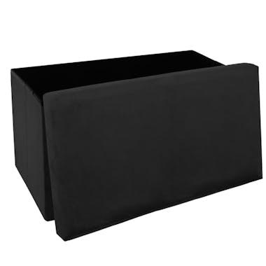 Pouf coffre de rangement pliable velours noir