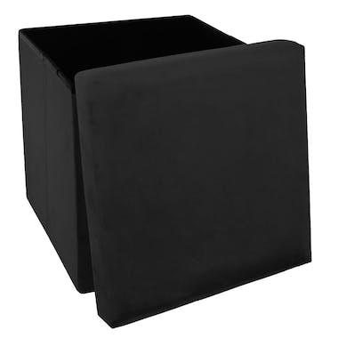 Pouf cube coffre pliable velours noir