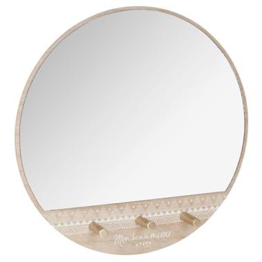 Miroir patère 3 crochets D39cm