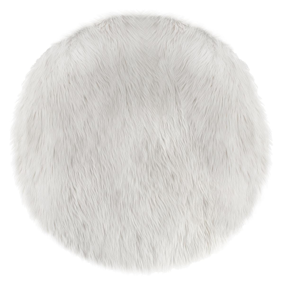 Tapis rond fourrure blanche D90cm