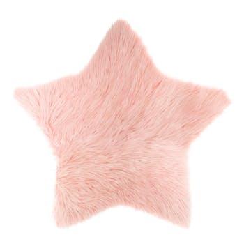 Tapis forme étoile fourrure rose 95cm