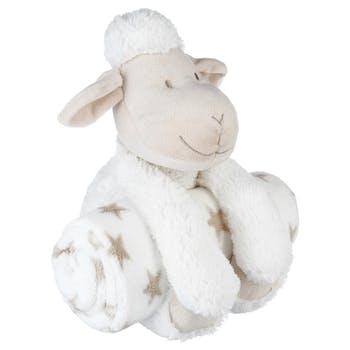Plaid avec peluche mouton blanc