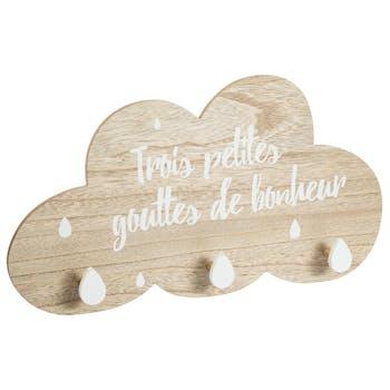 Patère nuage 3 crochets bonheur