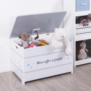 Coffre à jouets en bois blanc et gris