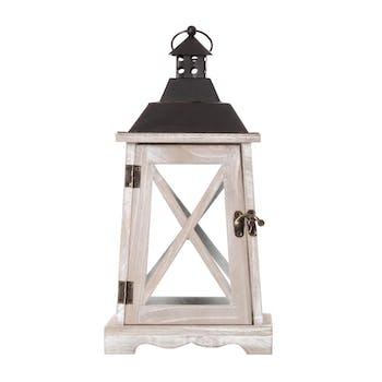 Lanterne romantique bois métal H35cm
