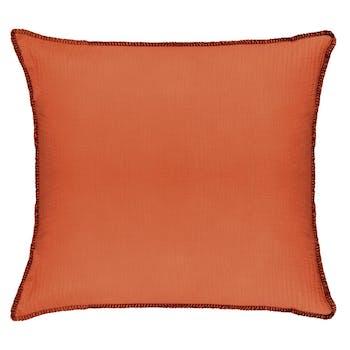 Coussin surpiqure orange terracotta