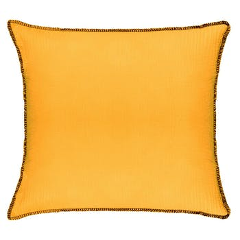 Coussin surpiqure jaune ocre