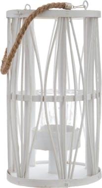 Lanterne rotin blanc H32cm