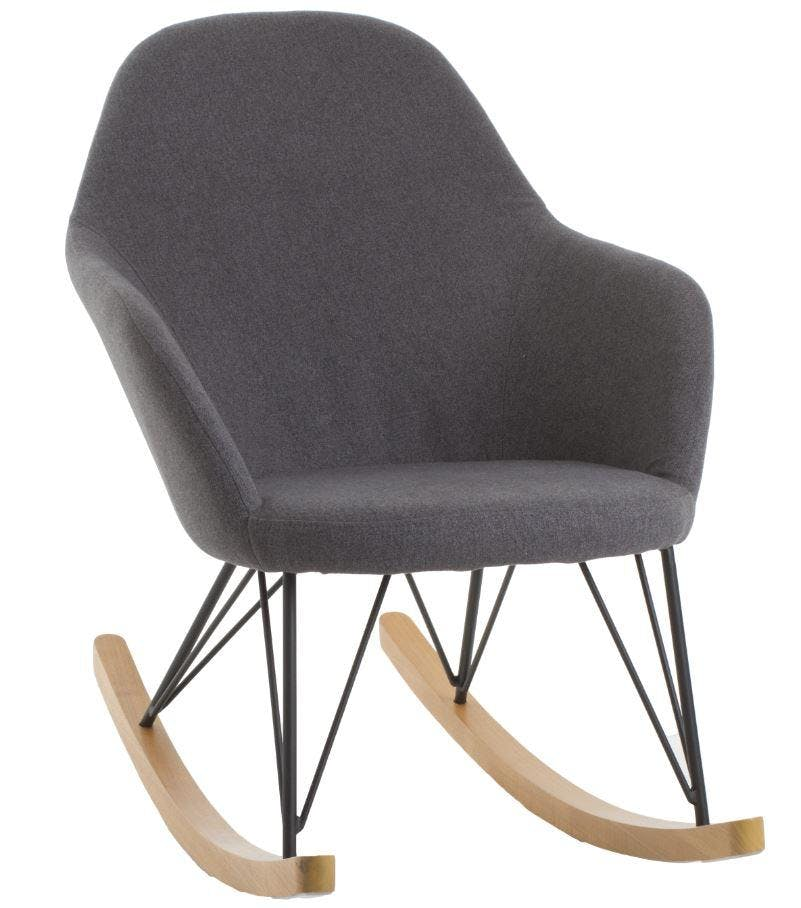 Rocking chair velours gris