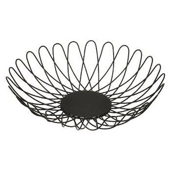 Corbeille en métal noir forme pétale 28cm