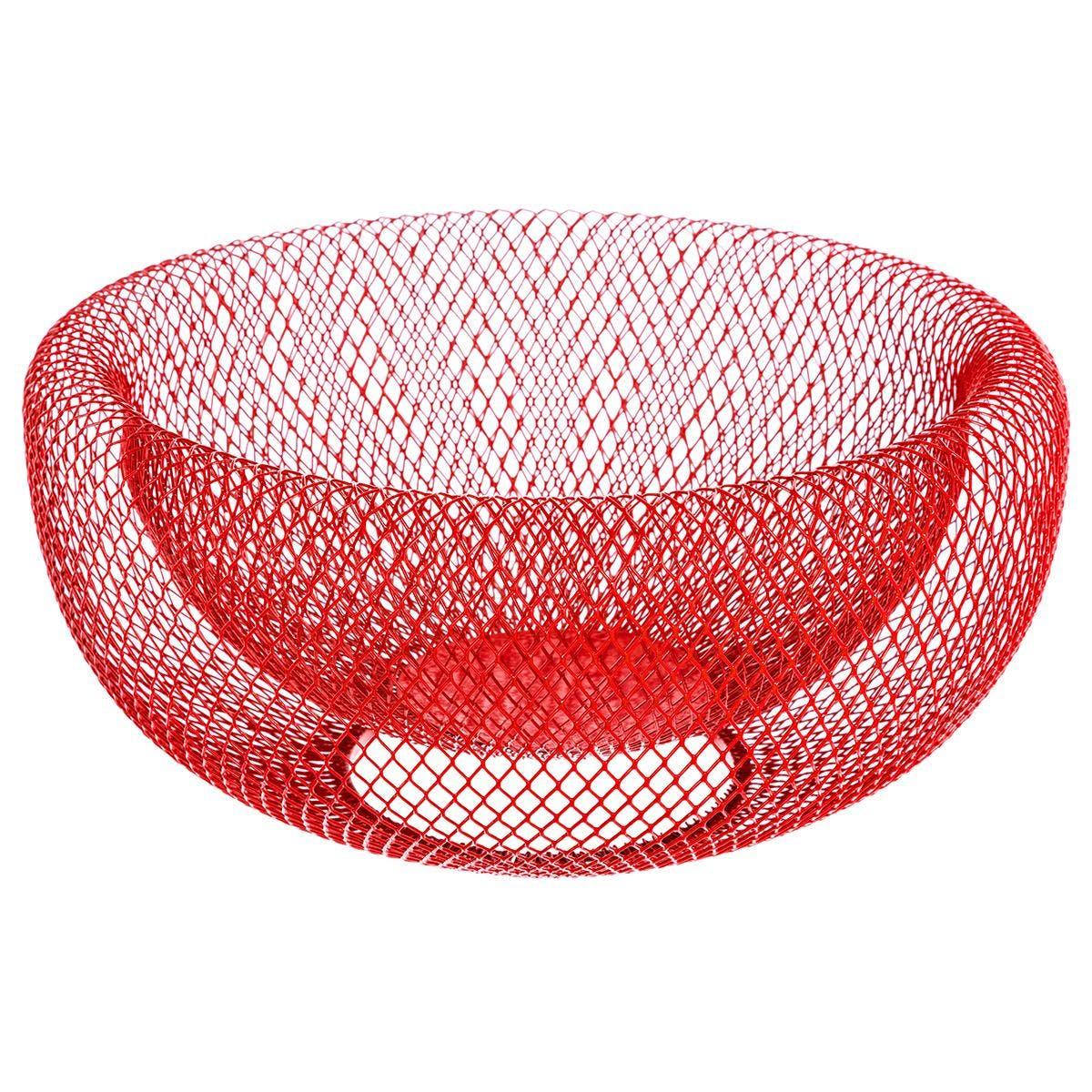 Corbeille métal rouge D27cm