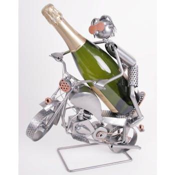 Porte-bouteille motard acrobate métal bicolore