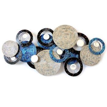 Décoration murale Disques et Cercles métal noir bleu gris