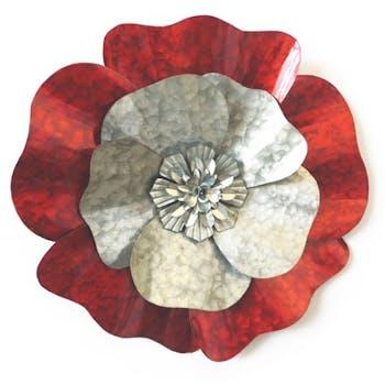 Décoration murale Fleur Pétales effet marbré métal rouge gris