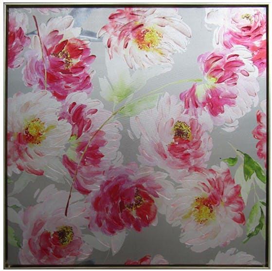 Tableau Pivoines rose sur fond gris