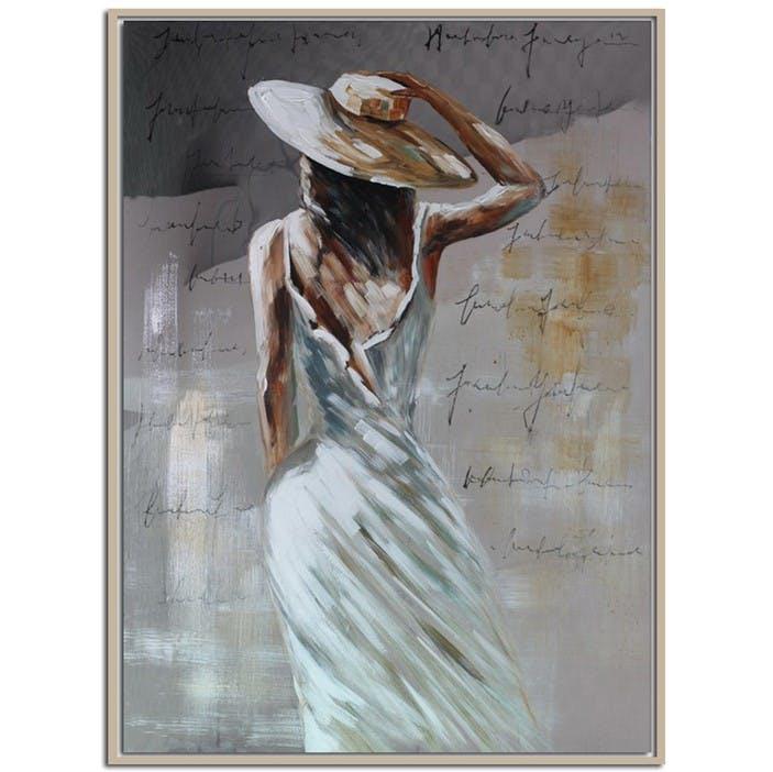 Tableau Femme de dos avec Chapeau effet miroir
