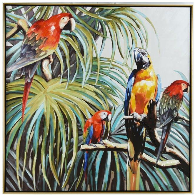 Tableau Tropical Perroquets dans la Jungle