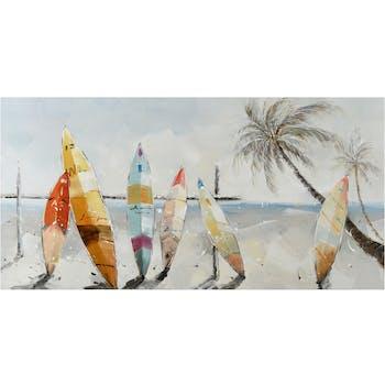 Tableau MARINE Planches de surf multicolores et palmiers 140x70cm