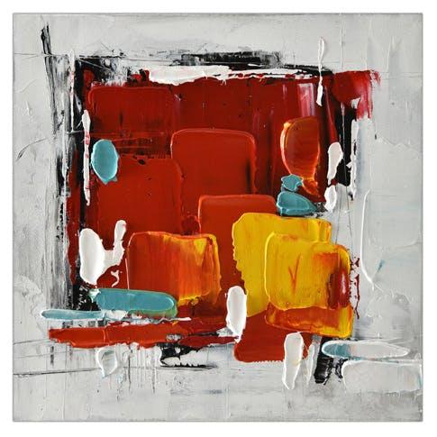Tableau ABSTRAIT dominante rouge et tons gris et jaunes 30x30cm
