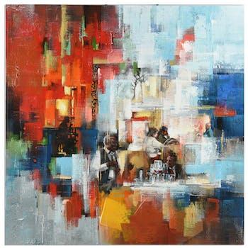 Tableau ABSTRAIT scène de bar dominante rouge et tons bleus et blancs 100x100cm