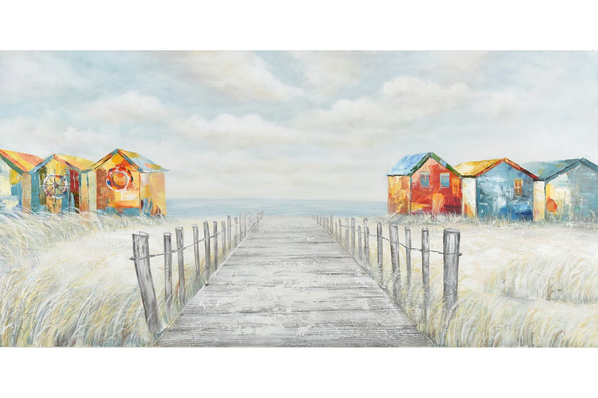 Tableau MARINE cabines de plage multicolores et horizon 140x70cm