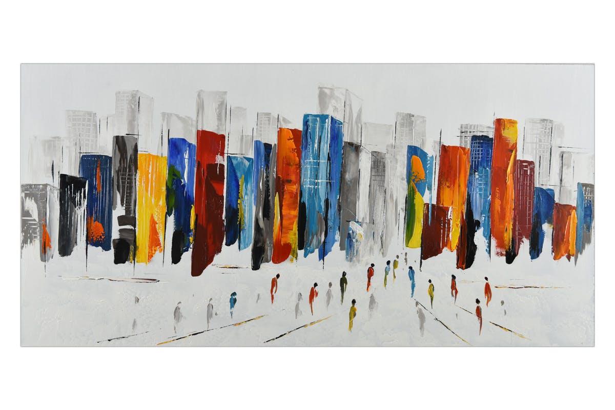 Tableau PAYSAGE URBAIN Buildings colorés et foule 120x60cm