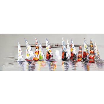 Tableau MARINE Régate de voiliers multicolore 50x150cm