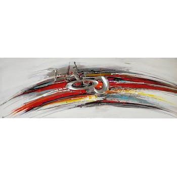 Tableau ABSTRAIT ronds et lignes multicolores 50x150cm