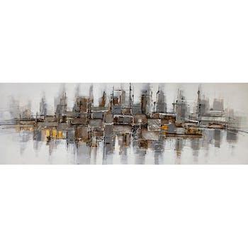Tableau ABSTRAIT carrés et rectangles tons ocres et argent 50x150cm