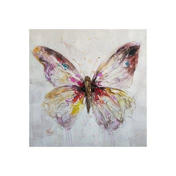 Tableau ANIMAUX papillon ailes texturées multicolore 100x100cm