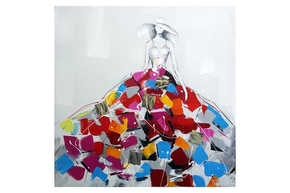 Tableau FEMME robe multicolore 80x80cm