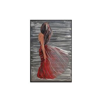 Tableau FEMME robe rouge sur fond aluminium dans cadre noir 80x120cm