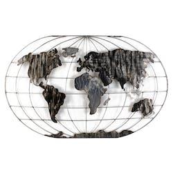 Décoration murale Mappemonde en métal gris et noir 120x75cm