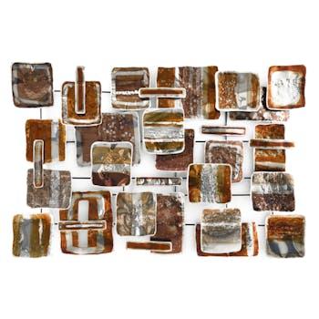 Décoration murale Assemblage de carrés superposés doré, cuivré et argenté en métal 100x70cm