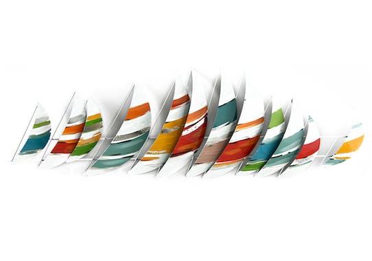 Décoration murale Régate de bateaux stylisée multicolore en métal 120x40cm